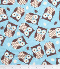 3 Yard Pre-Cut Snuggle Flannel Fabric -Owls Turquoise