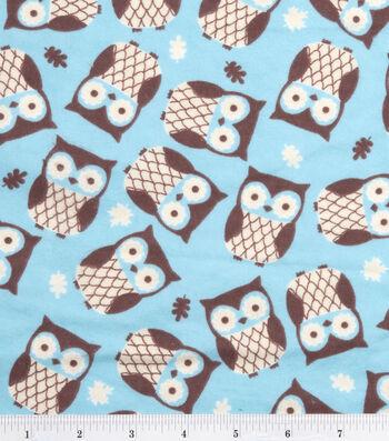 "3 Yard Pre-Cut Snuggle Flannel Fabric 42""-Owls Turquoise"