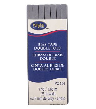 Wrights Double Fold Bias Tape 1/4''x4 yds-Light Gray