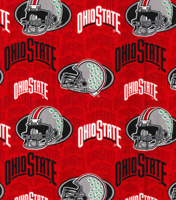 Ohio State University Buckeyes Cotton Fabric -Gray Helmets
