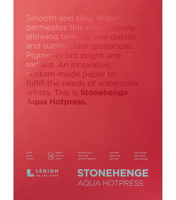 Stonehenge Aqua Hotpress 15-sheet 18''x24'' 140 lbs. Paper Pad-White