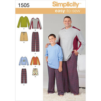 Simplicity Pattern 1505A S - L / 1X-Men Boy Sleepwear
