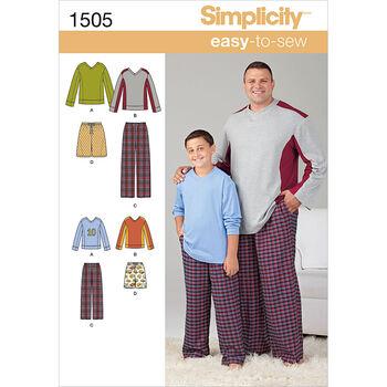Simplicity Pattern 1505A S - L / 1X-Men Boy Sleepwear