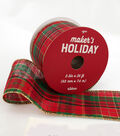Maker\u0027s Holiday Christmas Ribbon 2.5\u0027\u0027x25\u0027-Red, Green & Gold Plaid