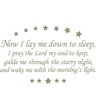 """Wall Pops Now I Lay Me Down Wall Phrase Decals, 38.5"""" x 24"""""""