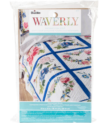 """Stamped Embroidery Quilt Blocks 15""""X15"""" 6 Pack-Waverly Charmed"""