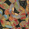 Premium Quilt Cotton Fabric-Bold Butterflies Black Metallic