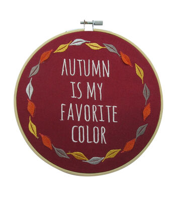 Simply Autumn Embroidery Hoop-Autumn is My Favorite Color on Burgundy