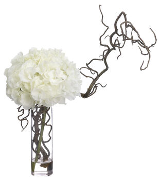 Hydrangea & Curly Willow in Glass Vase 18''