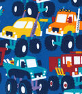 Snuggle Flannel Fabric -Multicolor Monster Trucks