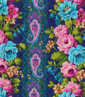 Double Faced Quilt Fabric -Floral Stripe on Navy