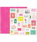 Pink Paislee Confetti Wishes 25 pk 12\u0027\u0027x12\u0027\u0027 Double-Sided Cardstock-#06