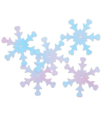 Sequin Snowflake White Iris-12pk