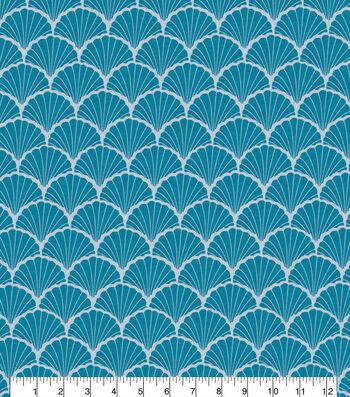 100% Linen Fabric-Tide Blue Shell Print