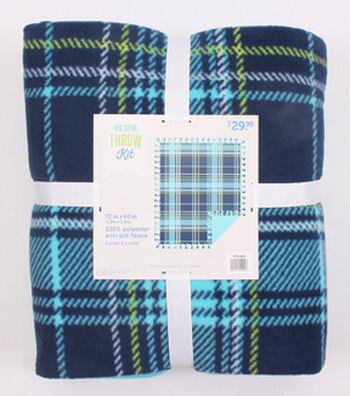 """No Sew Fleece Throw 72""""-Blue Lime Plaid"""