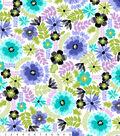 Anti-Pill Fleece Fabric 58\u0022-Blue Green Floral White