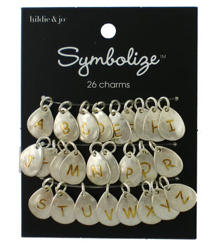 hildie & jo Symbolize 26 pk Charms-Gold Letters on Silver