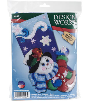 Design Works Crafts 18'' Snowflake Snowman Stocking Felt Applique Kit