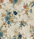 Vintage Cotton Fabric 43\u0022-Vine Floral Bouquet