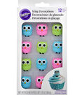 Wilton 12 Pack Edible Icing Decorations-Owls