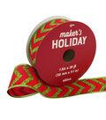 Maker\u0027s Holiday Christmas Ribbon 1.5\u0027\u0027x30\u0027-Lime Glitter Chevron on Red