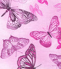 Snuggle Flannel Print Fabric -Butterflies On Pink Tonal