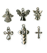 Blue Moon Beads 6 pk Cross & Angel Metal Charms-Assorted, , hi-res