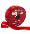 Maker\u0027s Holiday Christmas Ribbon 7/8\u0027\u0027x9\u0027-Red & White Candy Striped Edge