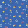 University of Kansas Jayhawks Cotton Fabric -Blue All Over