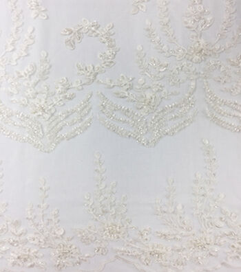 Save The Date Heavy Beaded Fabric 49''-Eggnog