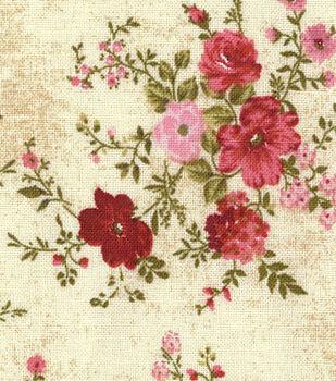 Premium Wide Cotton Fabric-Pink & Burgundy Floral with Vine Bouquet
