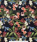 Stretch Twill Sportswear Fabric -Tropical Flowers Black