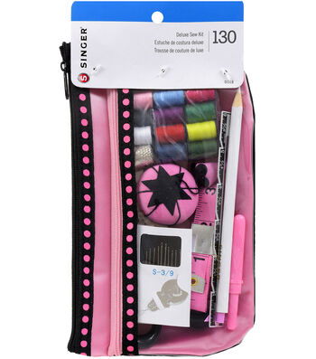 Singer Beginners Sewing Kit In Designer Pouch Pink