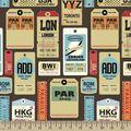 Vintage Baggage Tag Print Fabric