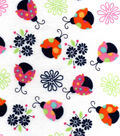 Snuggle Flannel Print Fabric -Patterned Ladybugs