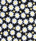 Blizzard Fleece Fabric-Daisy Dots Black