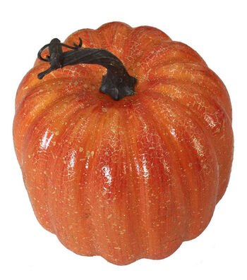 Blooming Autumn Large Pumpkin-Crackle on Orange