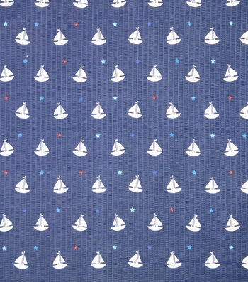 Doodles Textured Fabric 43''-Sail Boats on Navy