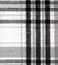 Plaid Brush Cotton Fabric 44\u0022-Black, Gray & Ivory