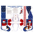Christmas Cotton Fabric 44\u0022-Snow Buddies Stocking Panel