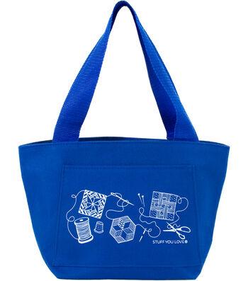 """K1C2 Quilt Happy Petite Project Bag 13""""X8""""X5""""-Blue"""