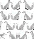 Nursery Flannel Fabric -Sketched Foxes