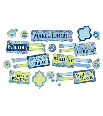Eureka Mini Bulletin Board Set-Blue Harmony Management