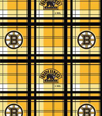 "Boston Bruins Fleece Fabric 60""-Plaid"