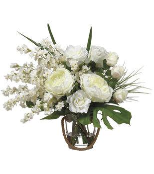Larkspur, Peonies & Roses in Glass Vase 22''-Cream & White