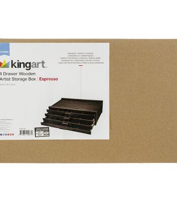 KINGART Artist Wooden Storage Box - 4 Drawer-Espresso