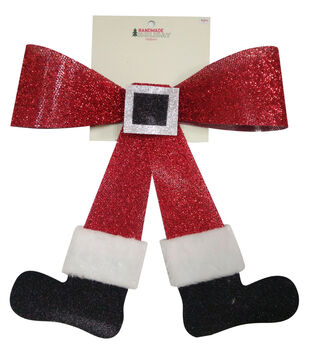 Handmade Holiday Christmas 12'' Santa Legs Bow