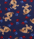 Blizzard Fleece Fabric -Spotted Puppy