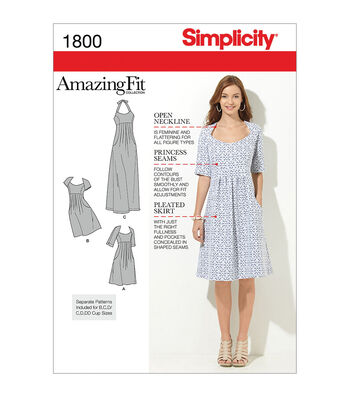Simplicity Patterns Us1800Aa-Simplicity Misses Dresses-10-12-14-16-18