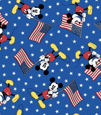 Patriotic Cotton Fabric 43''-Mickey Team with USA Flag